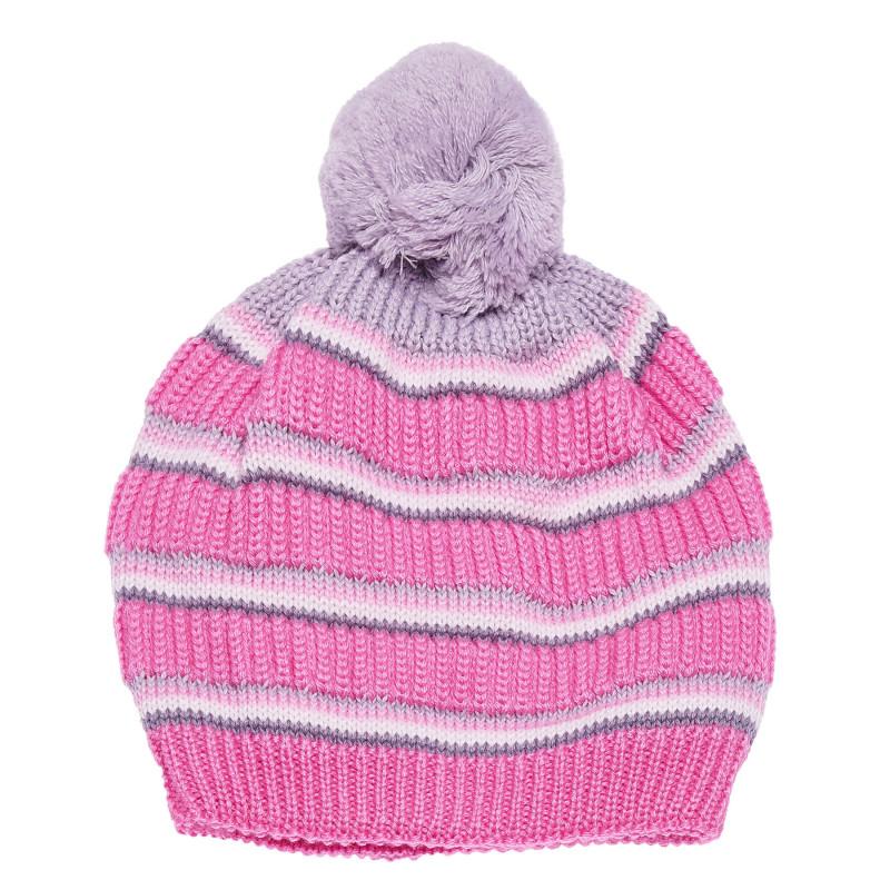 Плетена шапка за момиче с голям помпон   100311