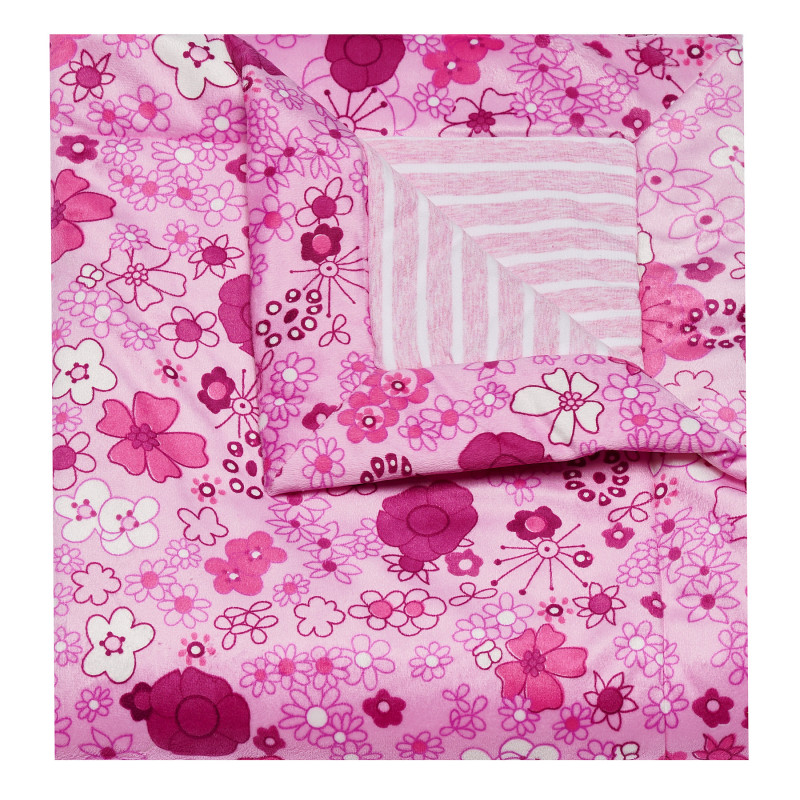 Плюшено одеяло за момиче на цветя от висококачествени материи, 70х80 см.  100338