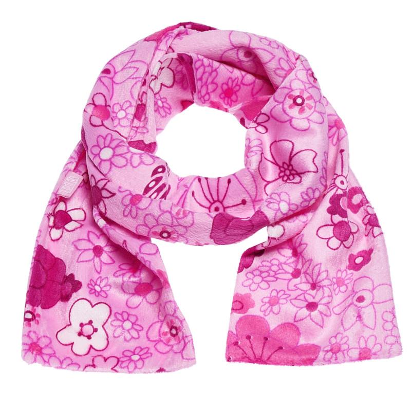 Плюшен розов шал на цветя за момиче  100408
