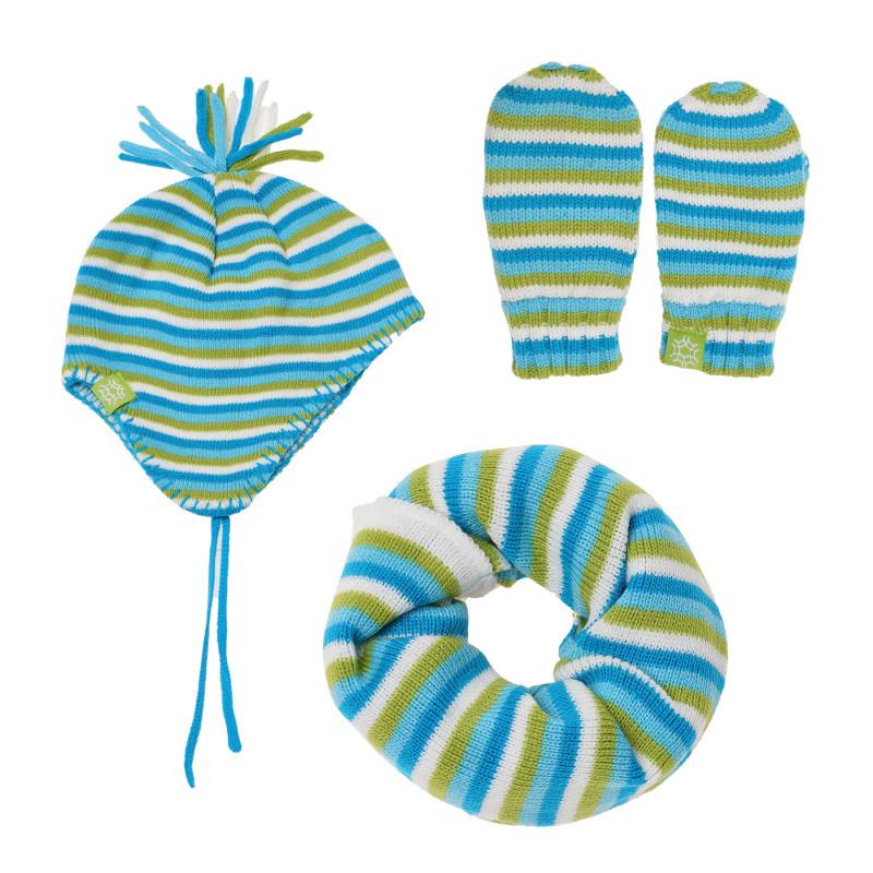 Комплект от три части на райе за бебе, синьо-зелено  100473