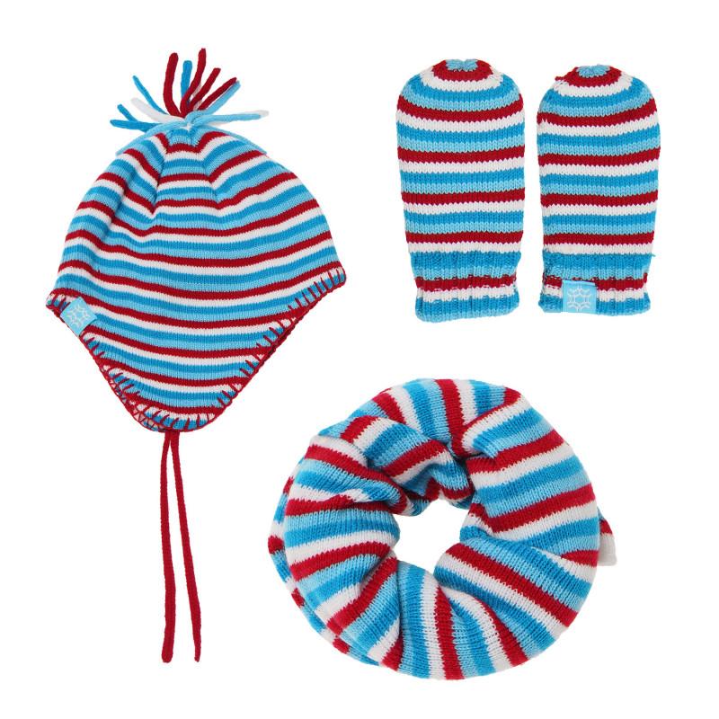 Комплект от три части на райе за бебе, синьо-червено  100478