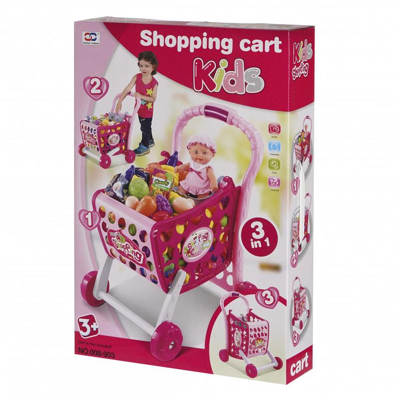 Количка за пазаруване с продукти Shopping Cart Kids  100586