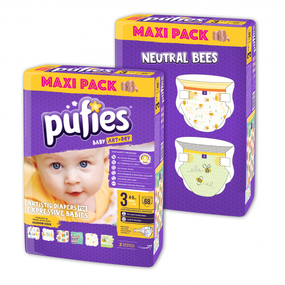 Еднократни пелени, Neutral Bees, Размер: 3, 2х68 бр. Pufies 10190