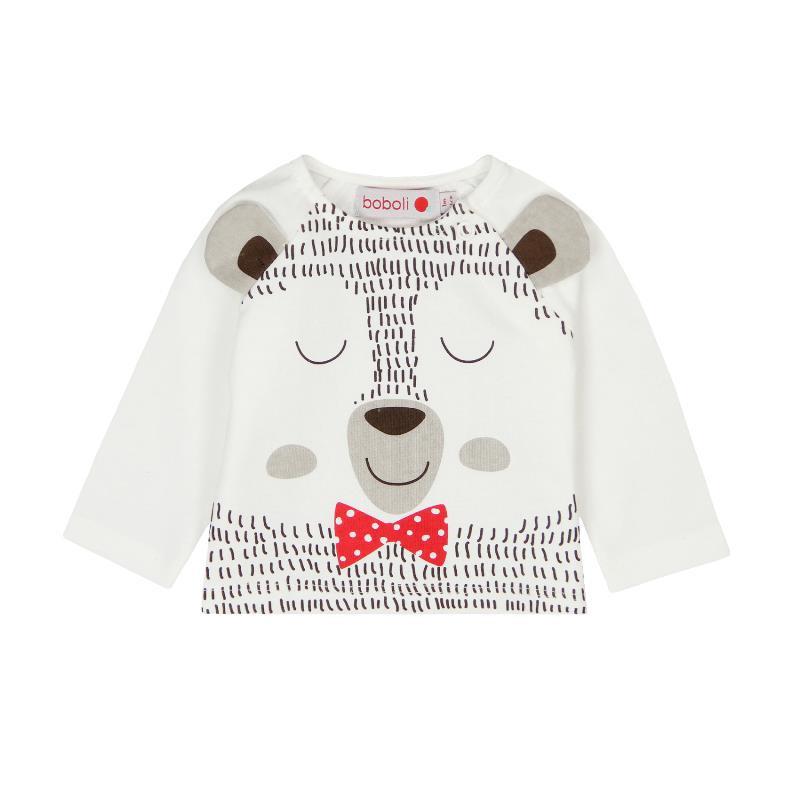 Памучна блуза с дълъг ръкав и весела щампа за бебе - унисекс  102