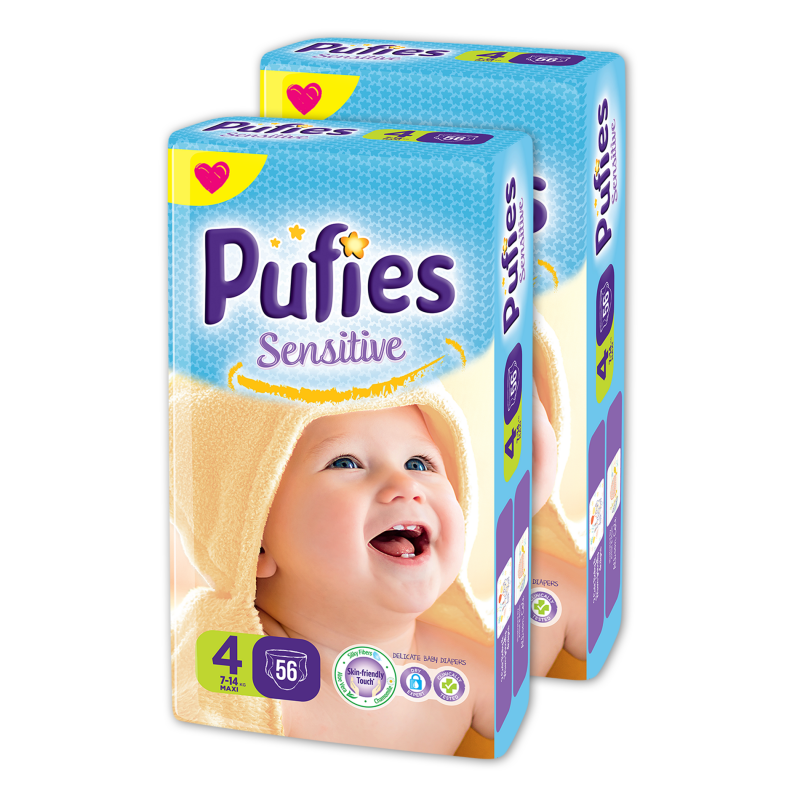Еднократни пелени Pufies Sensitive, размер: 4, 112 бр.  10207
