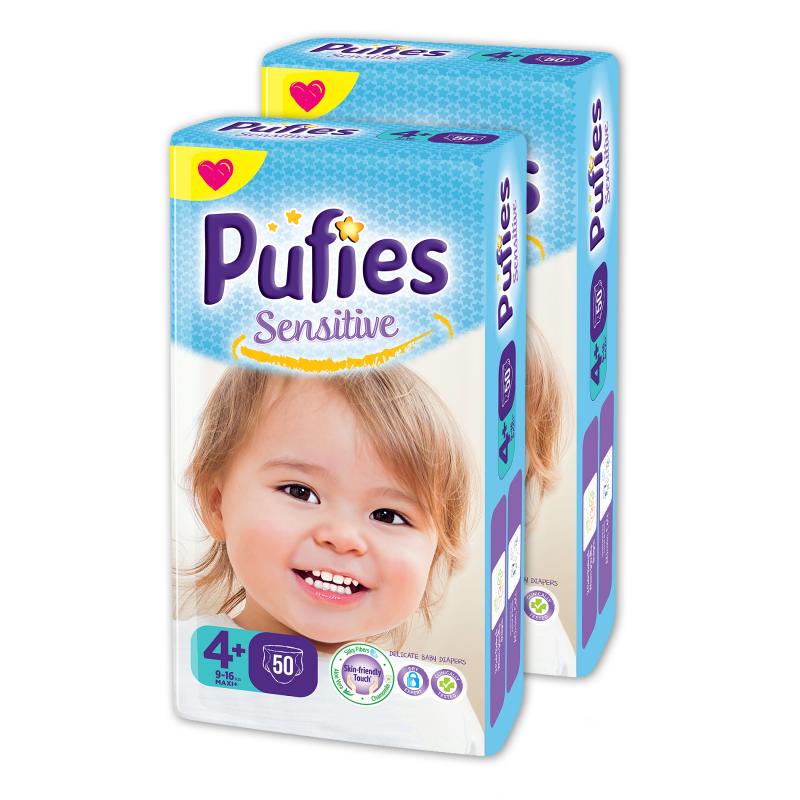 Еднократни пелени Pufies Sensitive, размер: 4, 100 бр.  10208