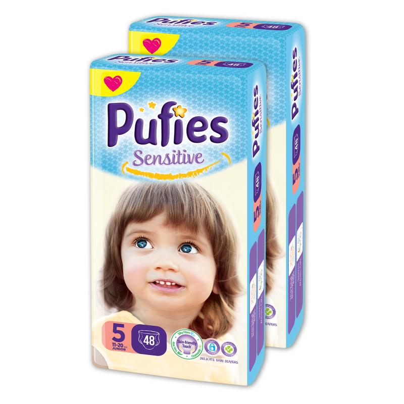 Еднократни пелени Pufies Sensitive, размер: 5, 96 бр.  10209