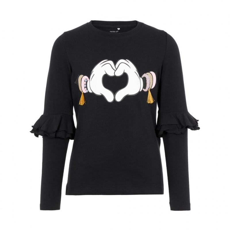 Черна памучна блуза с дълъг ръкав за момиче с пришити волани на ръкавите  102366