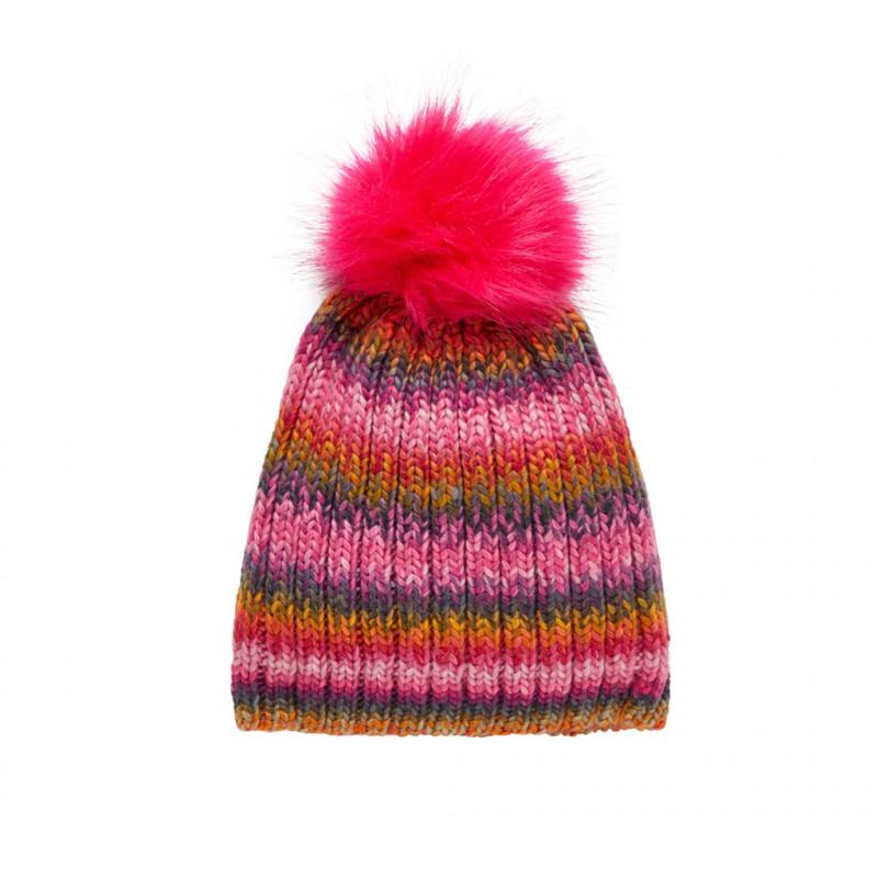 Плетена шапка с помпон за момиче  102462
