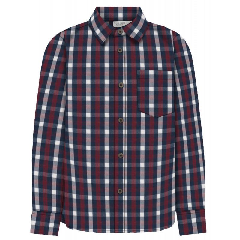 Памучна риза с дълъг ръкав с джоб на гърдите за момче  102536