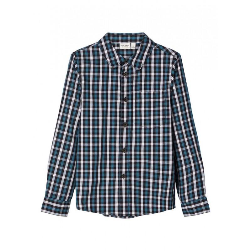 Памучна карирана риза с дълъг ръкав и джоб за момче  102537