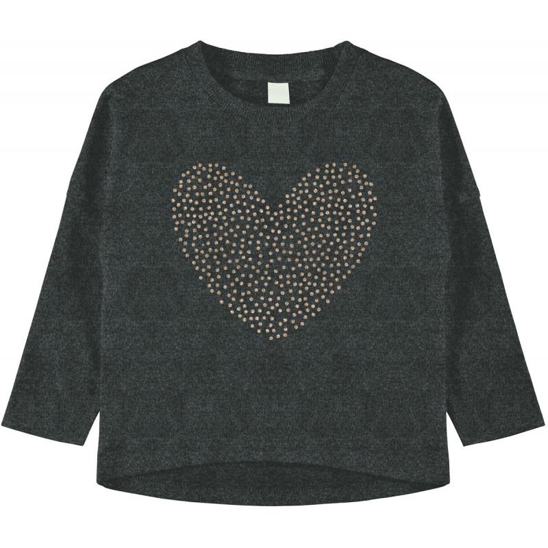 Блуза от органичен памук с блестящо сърце за момиче  102589