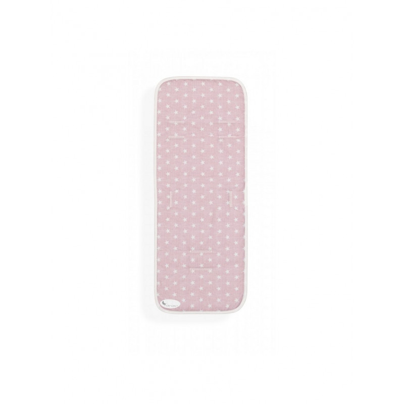 Подложка за количка на бели звезди, розова  102688