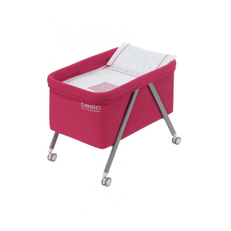 Сгъваемо бебешко легло с алуминиева рамка, розово  102691