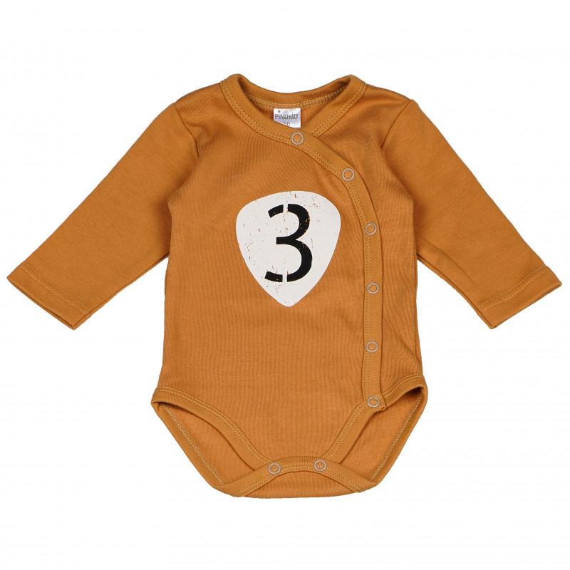 Памучно боди с дълъг ръкав за бебе и тик-так копчета  102818