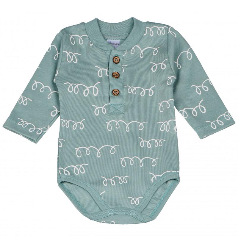 Памучно боди с дълъг ръкав и нежен принт за бебе  102857