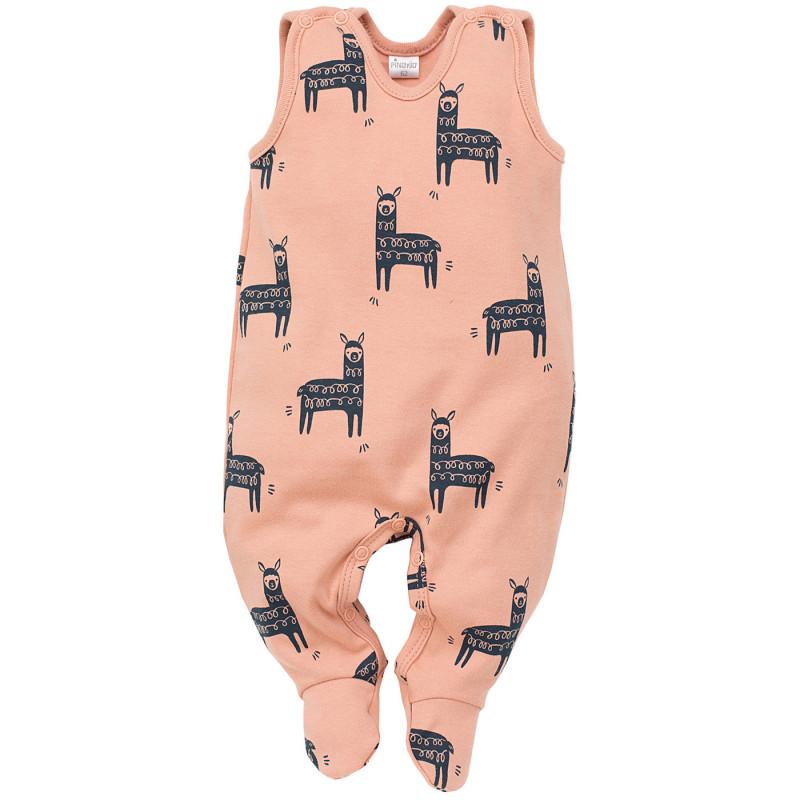 Памучен гащеризон без ръкави за бебе с картинки на лама  102872