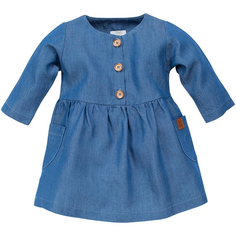 Памучна рокля с дълъг ръкав и  къдрички на раменете за бебе  102877