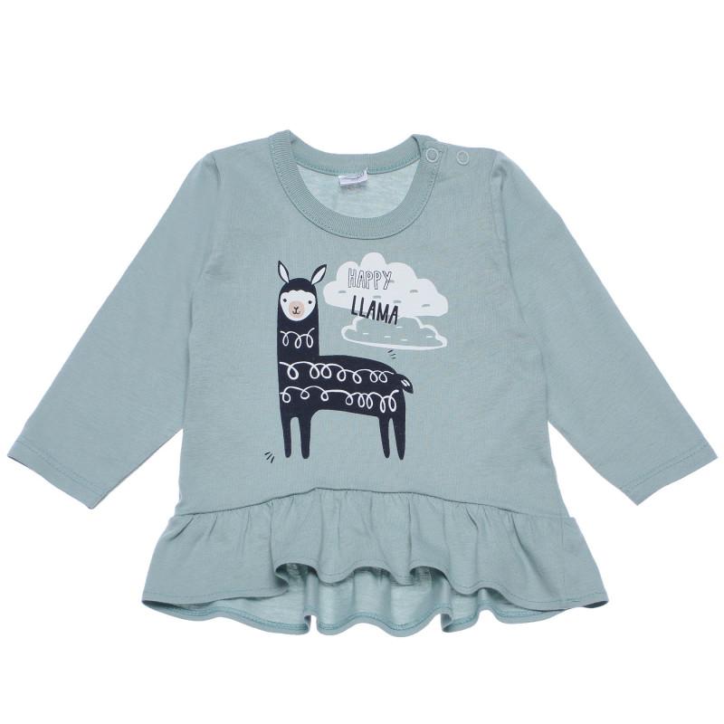Памучна блуза с дълъг ръкав и кокетни къдрички за бебе  102878