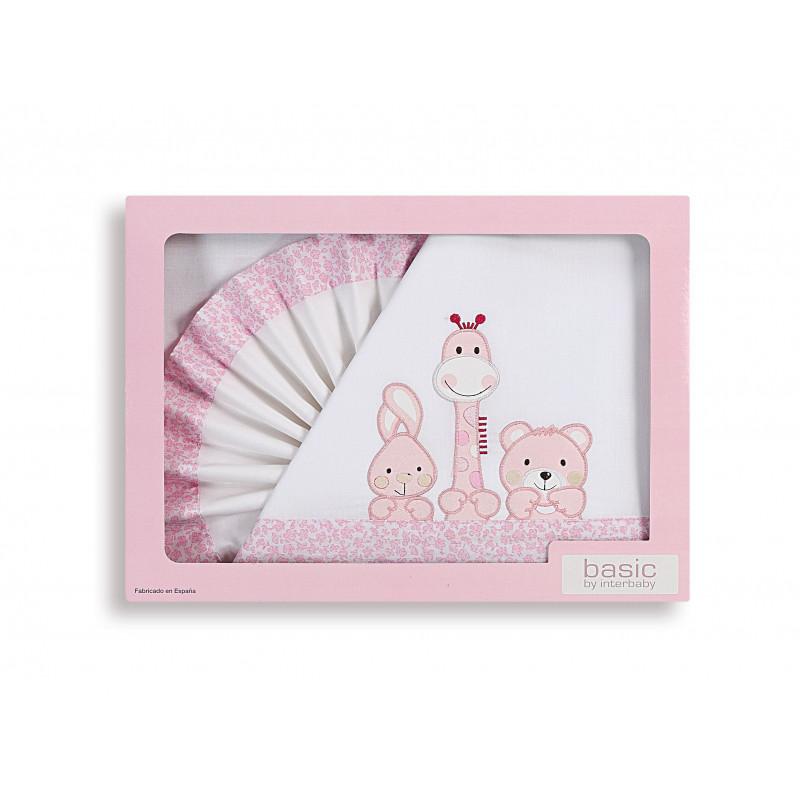Розов спален комплект 3 части за момиче изработен от 100% памук и с размери 60x120  102922