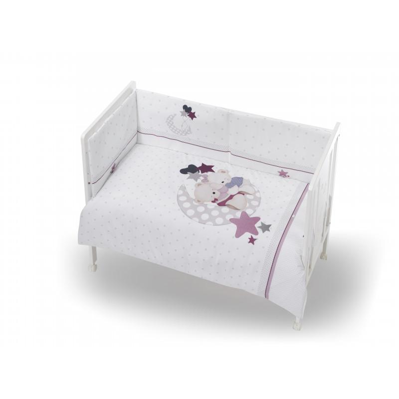 Памучен спален комплект от 3 части, розов, 70х140 см.  102947