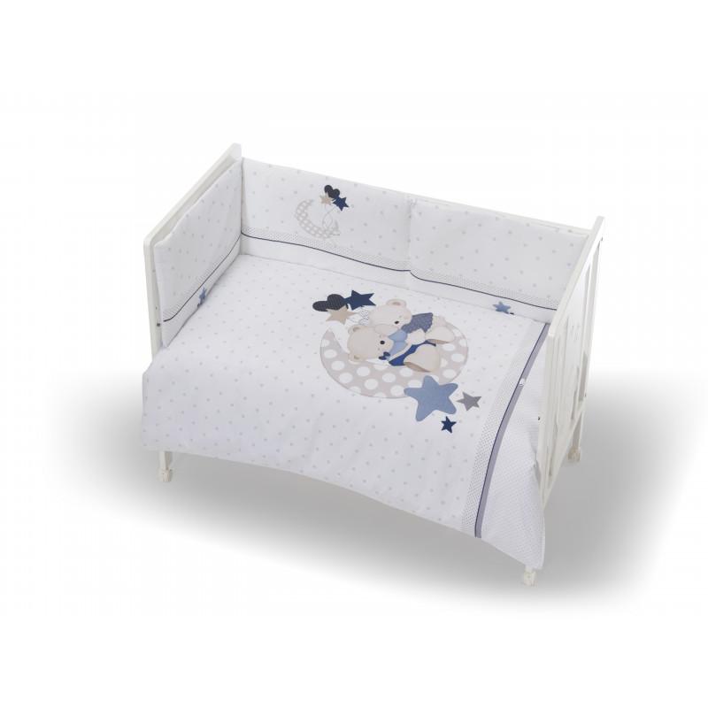 Памучен спален комплект от 3 части с мечета, бял  102948