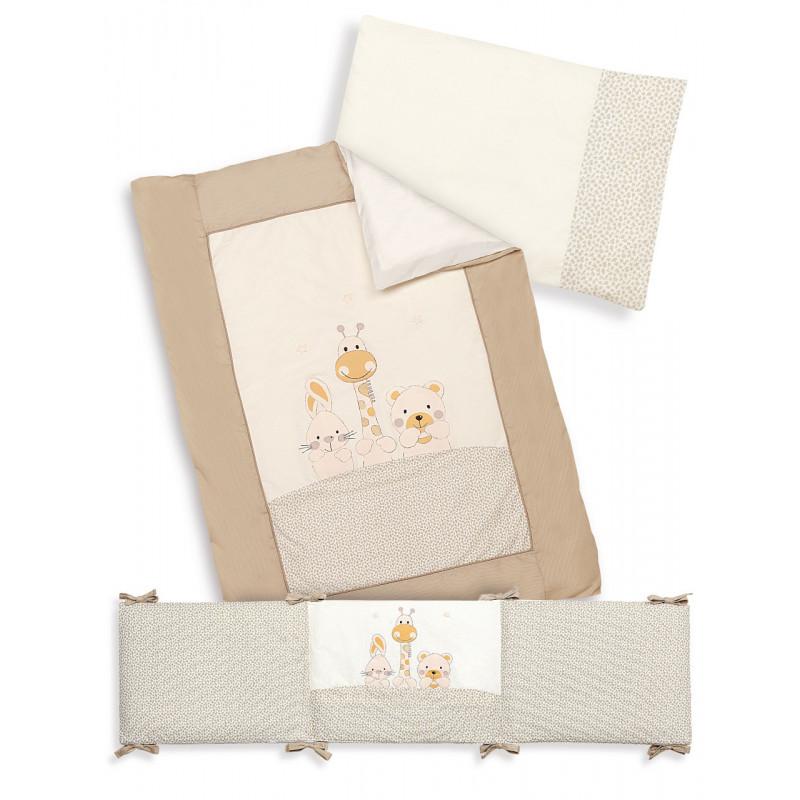 Спален комплект от 3 части в бежов цвят изработен от 100% памук, 70х140 см.  102949