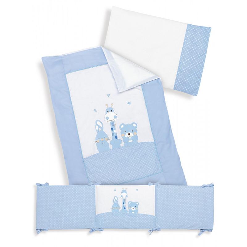 Син спален комплект от 3 части за момче изработен от 100% памук, 70х140 см.  102950