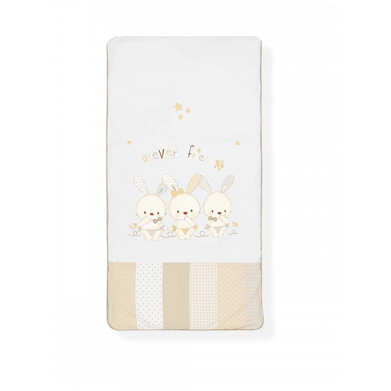 Памучен спален комплект 3 части- в бежов цвят със зайци, 60х120 см.  102967