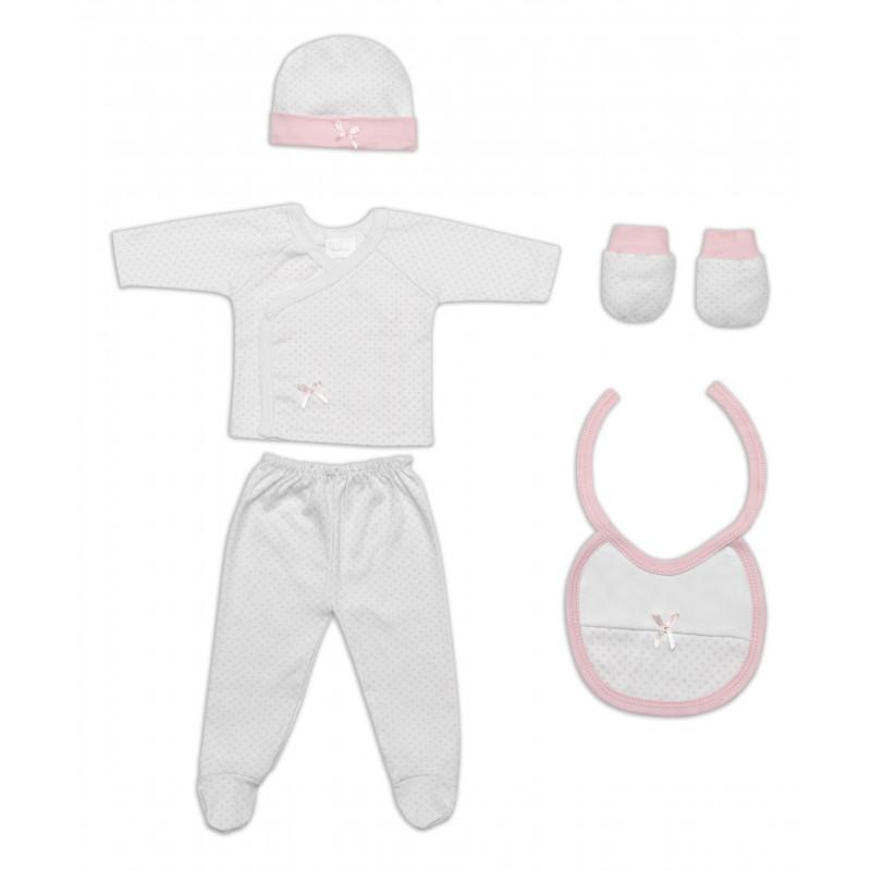 Комплект за изписване на бебе от 5 части, с розово  103002