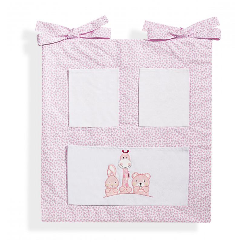 Памучен органайзер за бебешко легло Basic Friends, розов с животинчета  103190