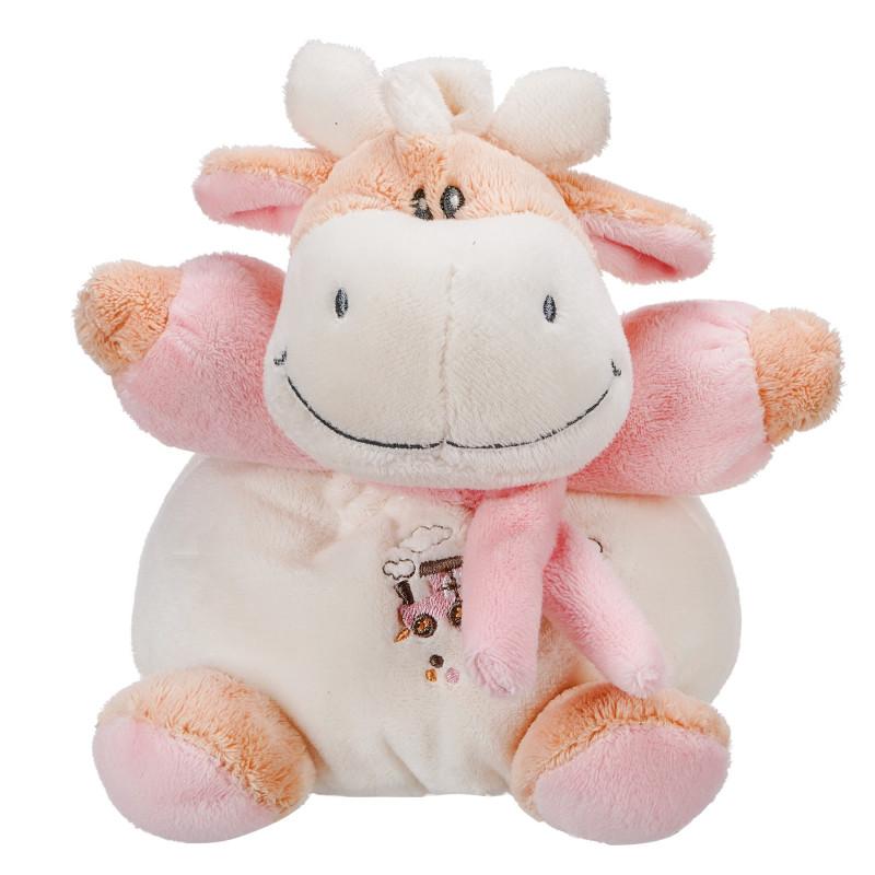 Бебешка плюшена дрънкалка - кравичка, розова, 15 см  103415