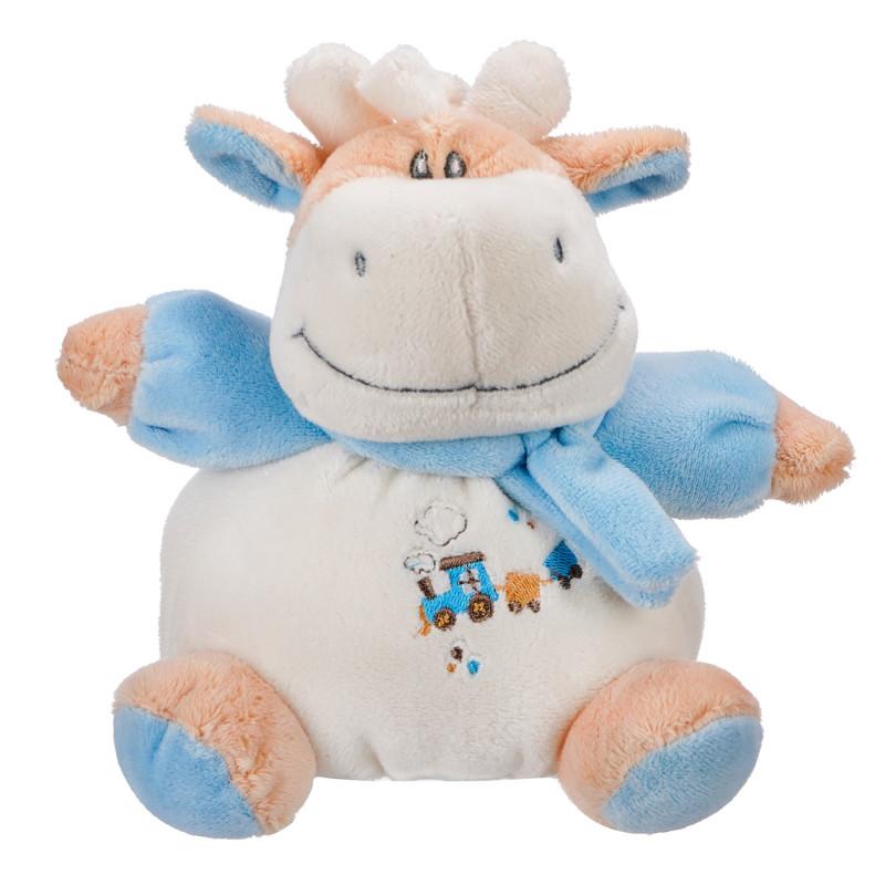 Бебешка плюшена дрънкалка - кравичка, синя, 15 см  103418