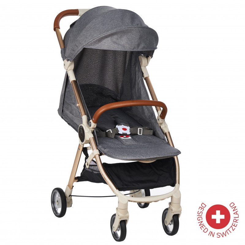 Детска количка FEEBY с швейцарска конструкция и дизайн, сива  103493