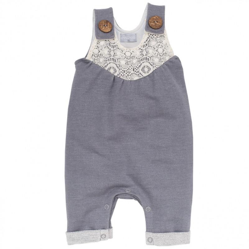 Памучен гащеризон за бебе с дантела  103527