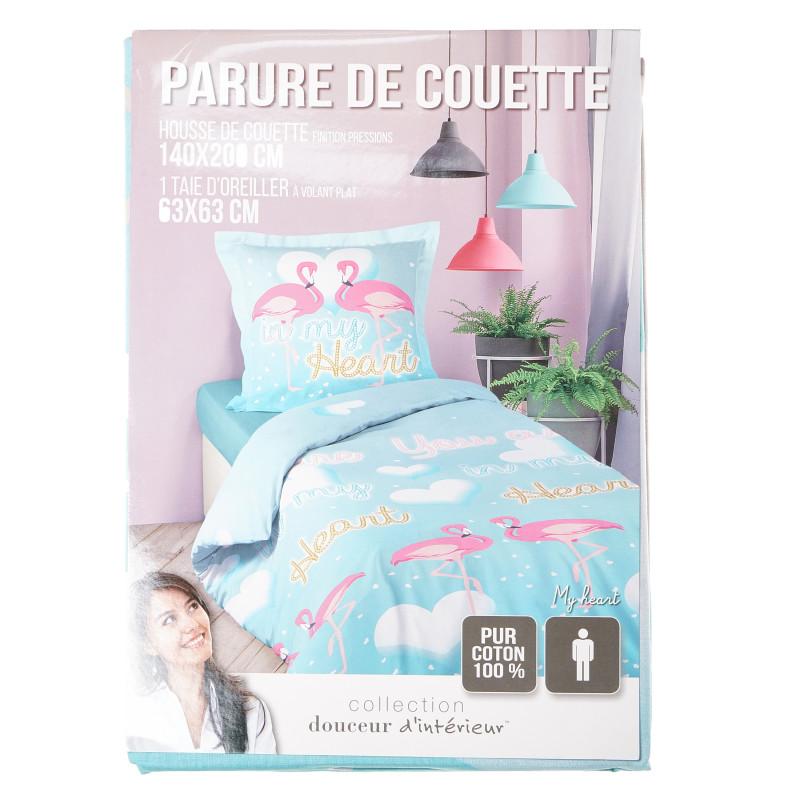 Памучен спален комплект от 2 части, светло син, 140х200 см.  104750