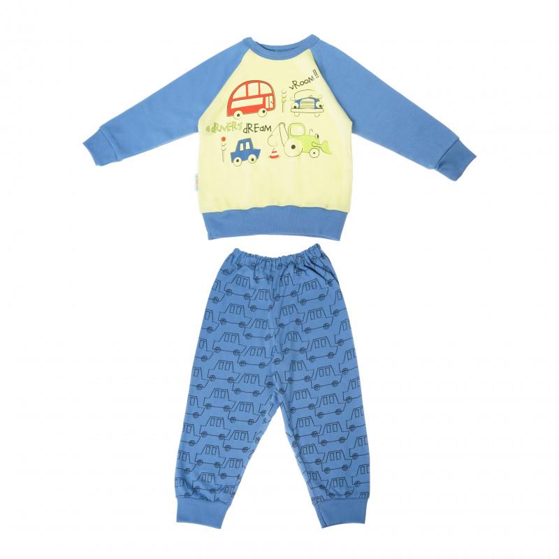 Памучна пижама с дълъг ръкав за момче с весела щампа на колички  104864