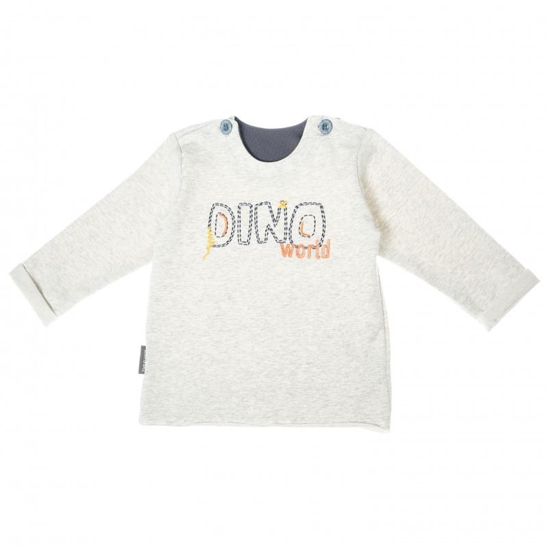 Памучна блуза с дълъг ръкав и надпис за бебе момче, сива  104891