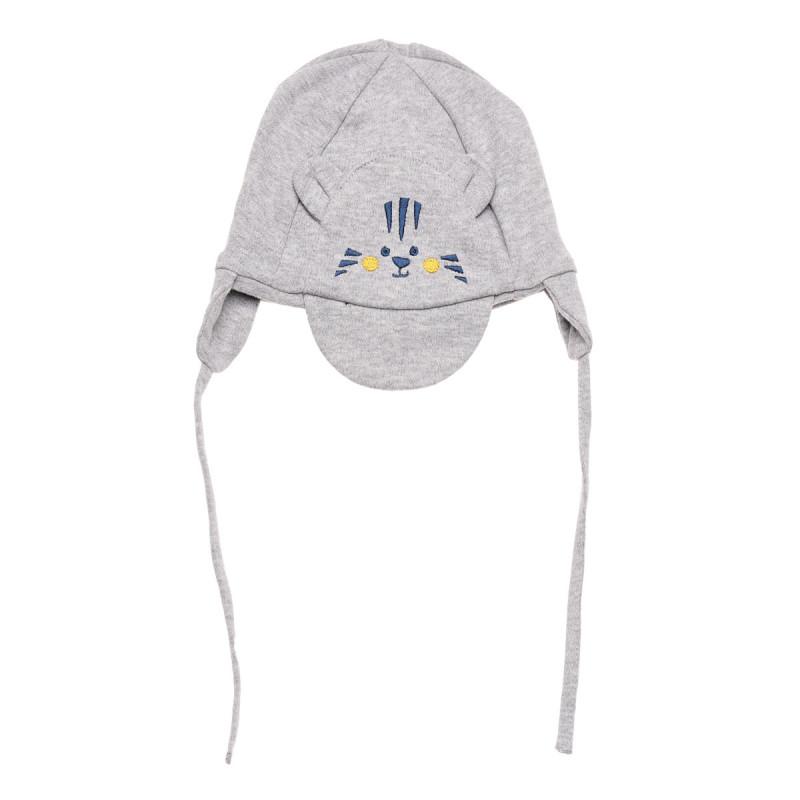 Памучна шапка за бебе с апликация на коте и козирка  106430