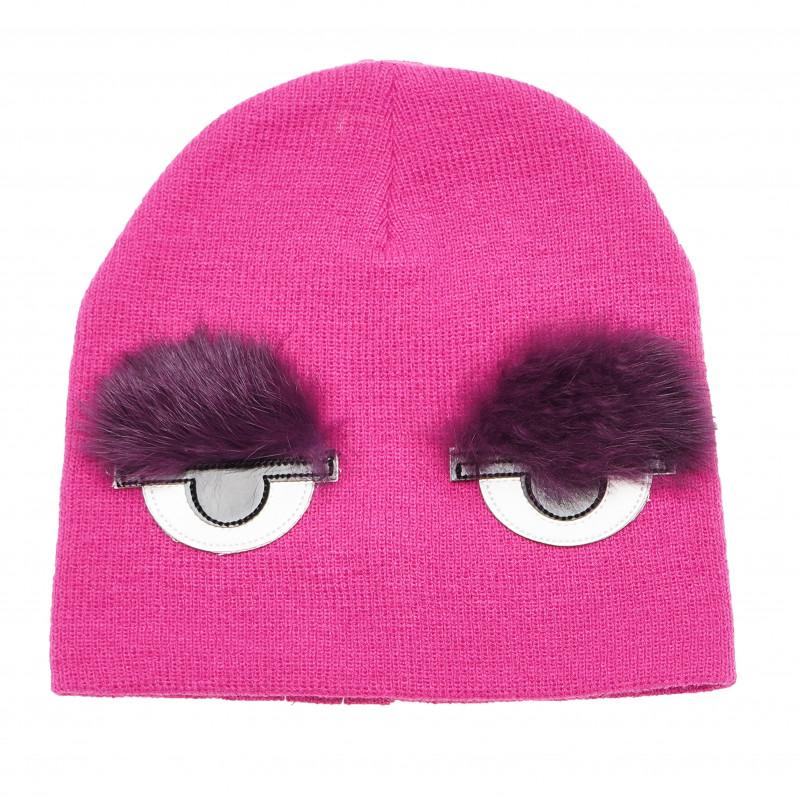Шапка за момиче с очи, розова  106482