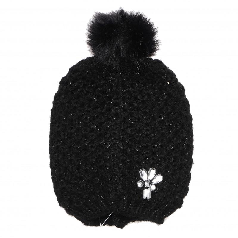 Плетена шапка за момиче, черна  106497