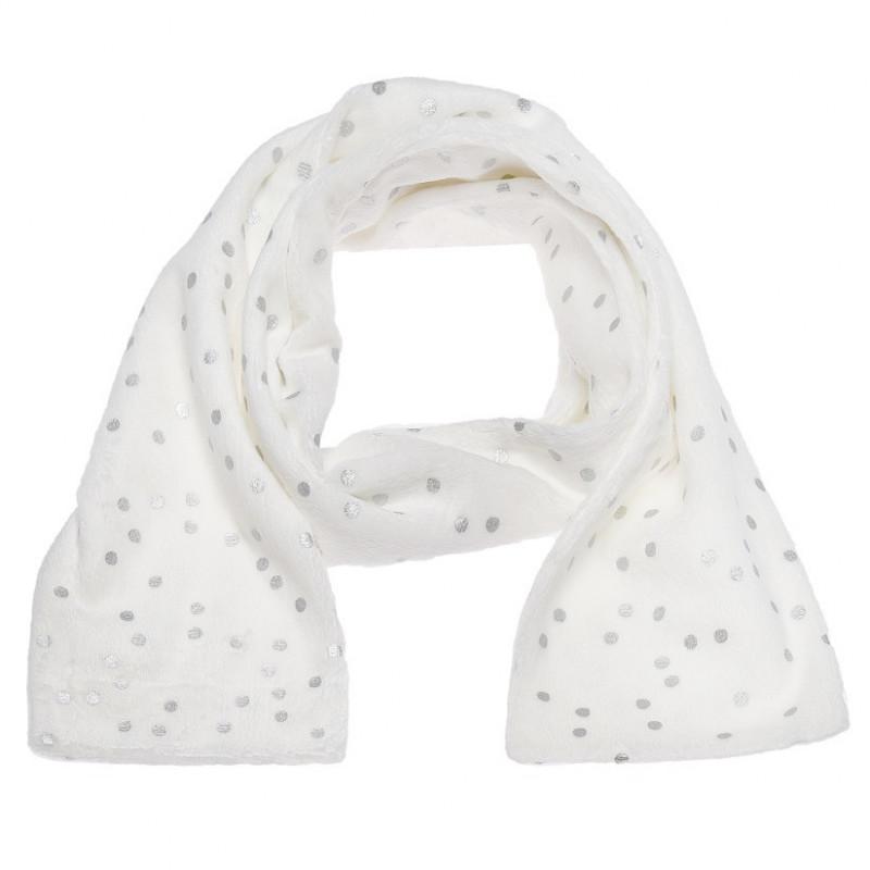Плюшен шал в бяло и сребристо за момиче  106724