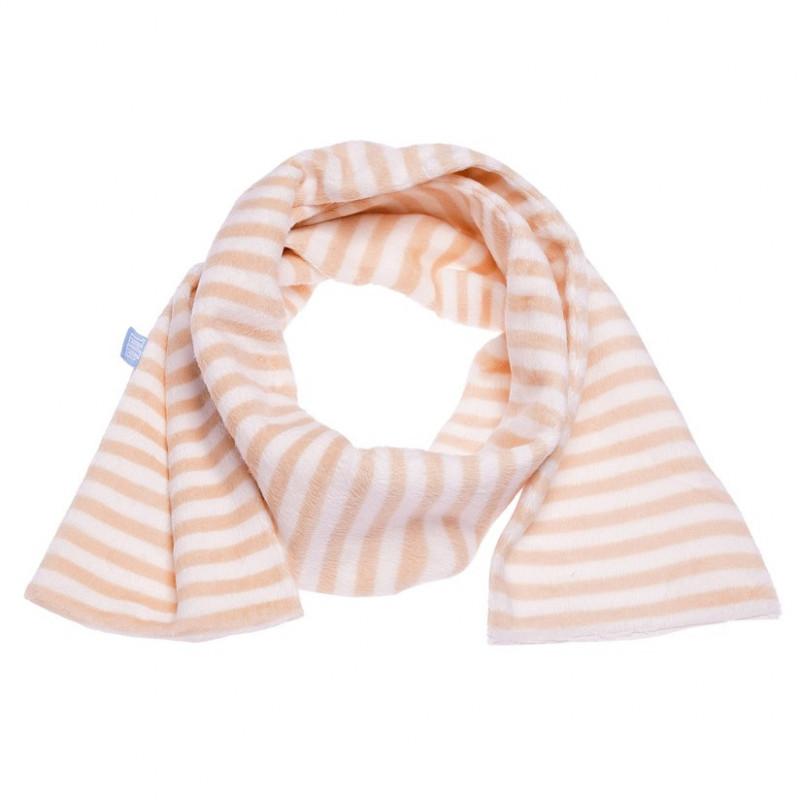 Плюшен шал в оранжево и бяло за момиче  106733