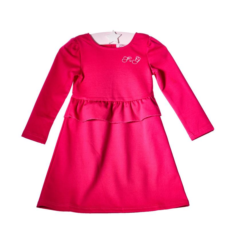 Рокля с дълъг ръкав и малка бродерия, розова  10696