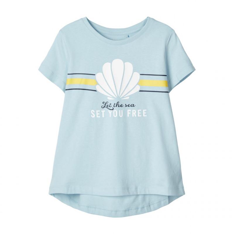 Блуза със свободна кройка от органичен памук, светло синя за момиче  107236