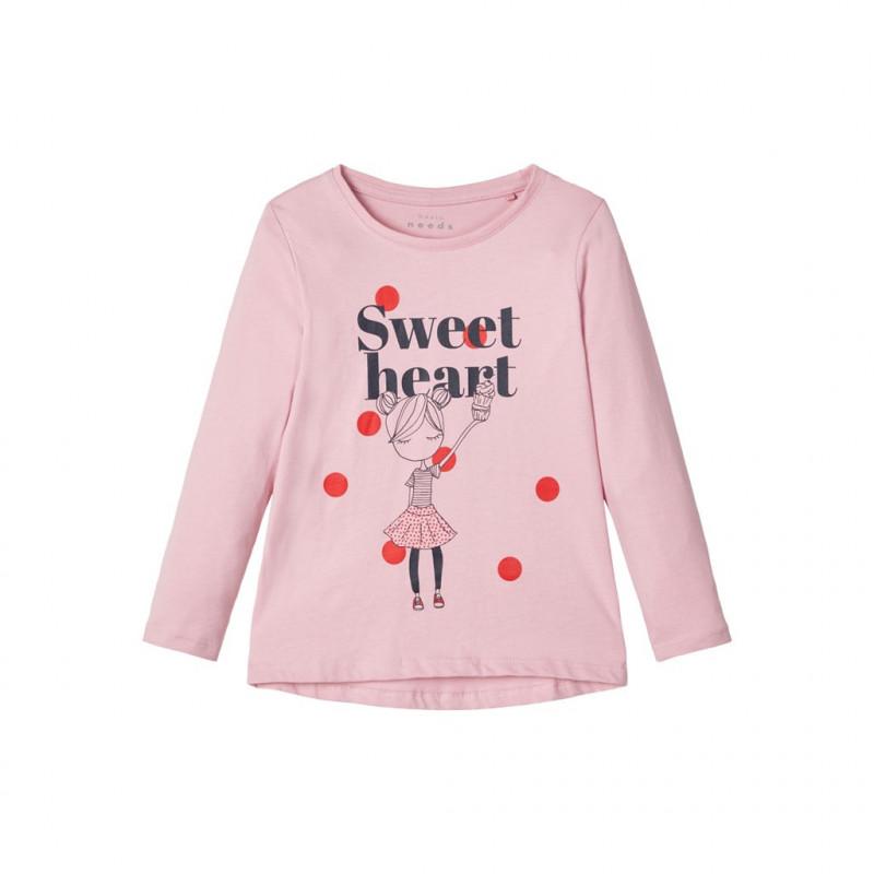 Памучна блуза с дълъг ръкав, светло розова за момиче  107415