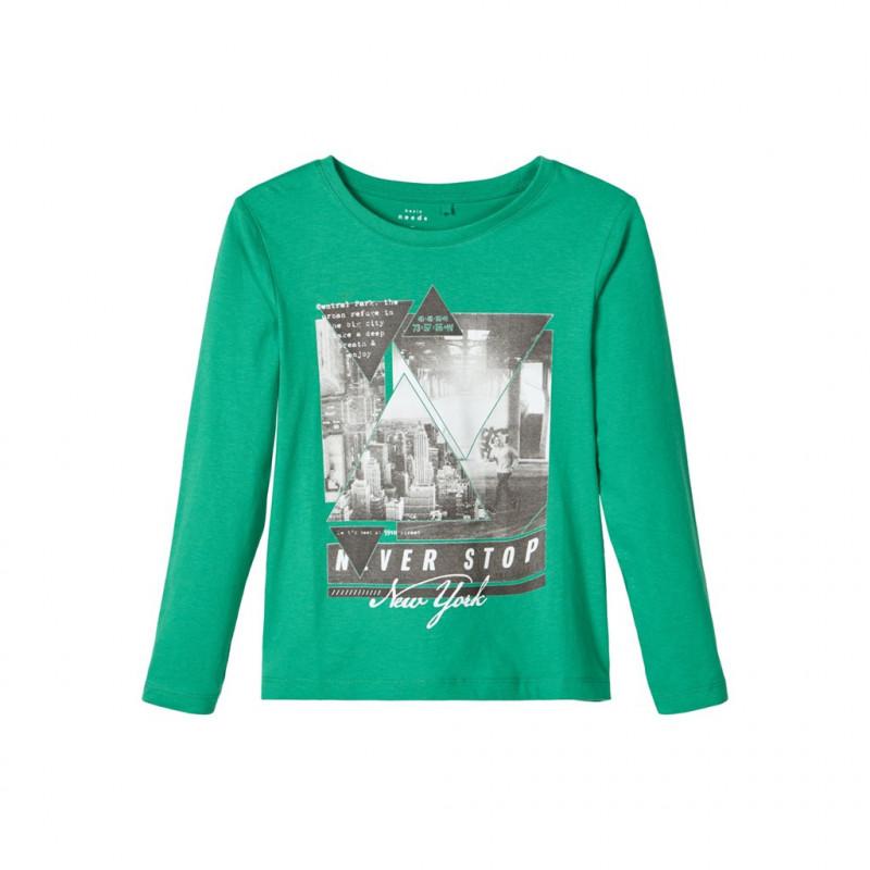 Памучна блуза със свободна кройка, зелена за момче  107473