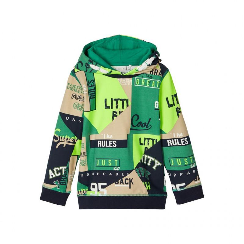 Суитчър от органичен памук, зелен за момче  107634