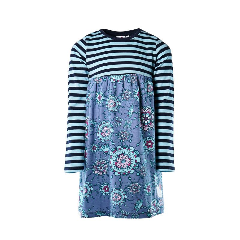 Памучна разкроена рокля, синя за момиче  107965