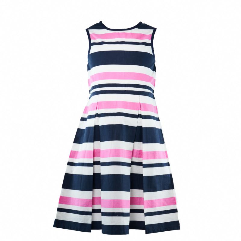 Разкроена рокля в цветно райе за момиче  107992